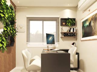 Jéssica Paiva Interiores Ruang Studi/Kantor Modern