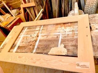 Espejo en pino Oregón americano de demolición de Diseños Colombia Rústico