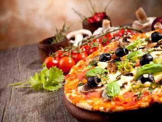 Toarmina's Pizza Ruang Makan Gaya Country Keramik Blue