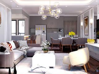 Thiết kế nội thất căn hộ Tân Cổ Điển Phòng khách phong cách kinh điển bởi Công ty trang trí nội thất RIM Decor Kinh điển