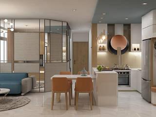 Thiết kế nội thất căn hộ Vinhome Nhà bếp phong cách hiện đại bởi Công ty trang trí nội thất RIM Decor Hiện đại