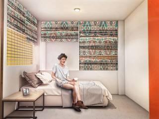 G._ALARQ + TAGA Arquitectos Małe sypialnie Wielokolorowy