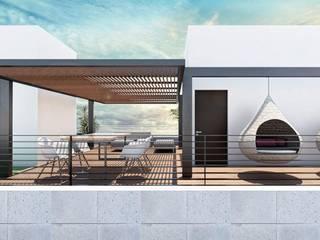 G._ALARQ + TAGA Arquitectos minimalist style balcony, porch & terrace Iron/Steel White
