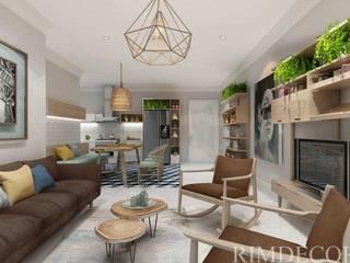 Thiết kế nội thất căn hộ Vista Verde Apartment Phòng khách phong cách mộc mạc bởi Công ty trang trí nội thất RIM Decor Mộc mạc