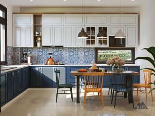 Thiết kế nội thất nhà phố Tây Ninh Nhà bếp phong cách đồng quê bởi Công ty trang trí nội thất RIM Decor Đồng quê