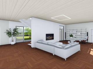 Progettazione case in legno Studio Dalla Vecchia Architetti Soggiorno moderno