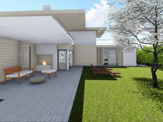 Progettazione case in legno Studio Dalla Vecchia Architetti Ingresso, Corridoio & Scale in stile moderno