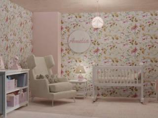 Amelia, dormitorio infantil Vicky Chalbaud Cuarto del bebé Rosa