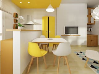 Arch. Sara Pizzo - Studio 1881 Scandinavian style dining room Wood Yellow