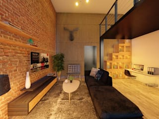 Diseño de loft en 45 m2 Salones industriales de Gustavo Delgado Arquitecto Industrial