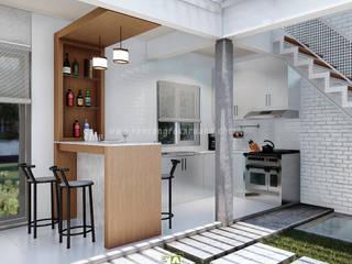 Rancang Reka Ruang Small kitchens Concrete White