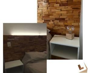 Respaldo de cama en madera con relieve de LUMA Revestimientos Moderno