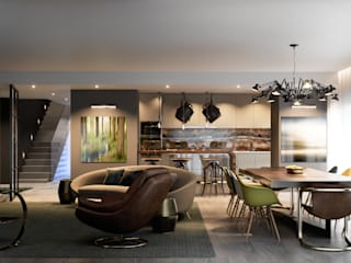 Inêz Fino Interiors, LDA モダンデザインの リビング