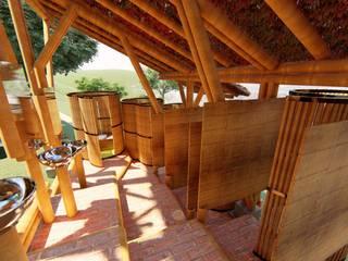 Zonas de baños - Akashaja: Yoga y desarrollo humano Baños de estilo tropical de Hauzer Arquitectura Tropical