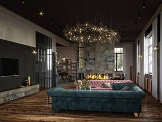Cozy loft style VILLA IN SAINT-PETERSBURG, FIRST FLOOR Гостиная в стиле лофт от ANNAROMEO DESIGN Лофт