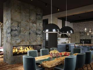 Cozy loft style VILLA IN SAINT-PETERSBURG, FIRST FLOOR Столовая комната в стиле лофт от ANNAROMEO DESIGN Лофт