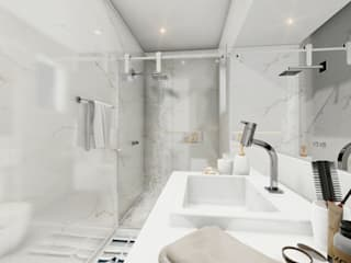 MJR - ENGENHARIA | GERENCIAMENTO | DESIGNERS Modern bathroom Marble Grey