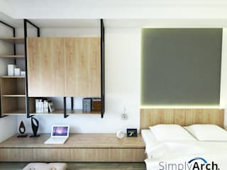 Nyaman tinggal di Unit Apartemen Kecil Namun Terkesan Luas dan Cozy Kamar Tidur Modern Oleh Simply Arch. Modern