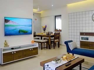 3BHK, Kalpataru Sceenity, Manjari, Pune Minimalist living room by Design Evolution Lab Minimalist