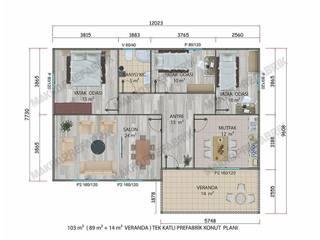 103 m² PREFABRİK KONUT MAKRO PREFABRİK ÇELİK YAPI İNŞ. SAN. VE DIŞ TİC. LTD. ŞTİ. Klasik Evler