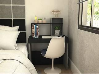 Quarto de casal com móveis sem parafusos, totalmente de encaixe por CrieAtive Arqdesign Moderno