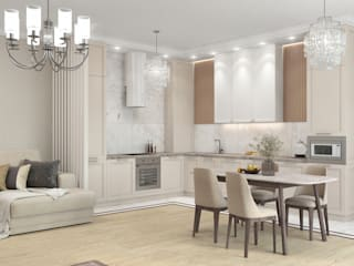 Дизайн квартиры в светлых тонах Гостиная в классическом стиле от ARTWAY центр профессиональных дизайнеров и строителей Классический