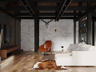 Hunter house   88 кв. м   Проект загородного дома в современном стиле Гостиная в стиле минимализм от MIYAO   КАТЕРИНА БОРОДИНА И ПИТЕРСКИЙ СЕРГЕЙ Минимализм