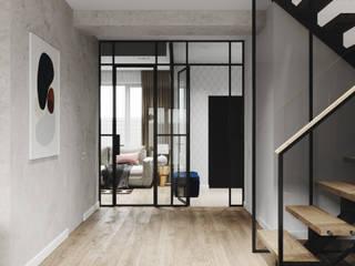 Cozy townhouse   95 кв. м   Проект таунхауса в современном стиле Коридор, прихожая и лестница в стиле минимализм от MIYAO   КАТЕРИНА БОРОДИНА И ПИТЕРСКИЙ СЕРГЕЙ Минимализм