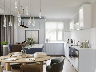 Family house   140 кв. м   Проект загородного дома в стиле современная классика Кухня в классическом стиле от MIYAO   КАТЕРИНА БОРОДИНА И ПИТЕРСКИЙ СЕРГЕЙ Классический