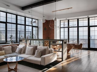 Реализованный проект   219 кв. м   Bay view apartment   Квартира в стиле лофт Гостиная в стиле лофт от MIYAO   КАТЕРИНА БОРОДИНА И ПИТЕРСКИЙ СЕРГЕЙ Лофт