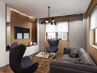 Дизайн 2х-комнатной квартиры, 55 м² Гостиная в стиле минимализм от Студия дизайна интерьеров и ремонта Алексея Выходца Минимализм
