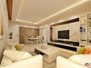 2 BHK at Thane Modern living room by A Design Studio Modern