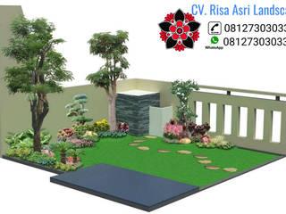 ide rumah minimalis cv. risa asri landscape Halaman depan Kaca Amber/Gold