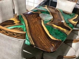 Epoxy Resin Dining Table with Green Hues Aura Glow Interio Dining roomTables Solid Wood Green