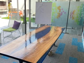 Conference Table with Blue Epoxy and Live Edge Wood Aura Glow Interio Multimedia roomFurniture Wood Blue