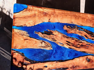 Dining Table with Blue Epoxy and Rustic Wood Aura Glow Interio Dining roomTables Wood Blue