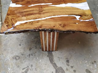 Live Edge Corner Table with White Epoxy Work Aura Glow Interio Living roomSide tables & trays Wood White