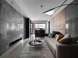 墨染詩韻 繪出寫意生活輪廓 现代客厅設計點子、靈感 & 圖片 根據 千綵胤空間設計 現代風