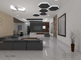 Interiors For a Villa Modern living room by CONCEPTECTURE- architecture & interiors Modern