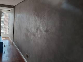 Pintura Cimento Queimado - PD Reforme&Decore Salas de estar modernas Cinza