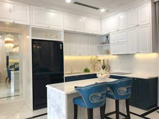 Dự án nội thất dãy nhà phố Verosa Khang Điền. Nội thất Thành Nam KitchenCabinets & shelves Gỗ White