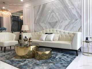 Dự án nội thất dãy nhà phố Verosa Khang Điền. Nội thất Thành Nam Living roomSofas & armchairs Gỗ