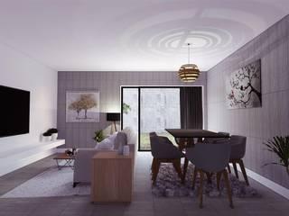 Êxodo Construções e Engenharia 现代客厅設計點子、靈感 & 圖片