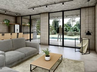 Paulo Stocco Arquiteto Industrial style houses Concrete Grey
