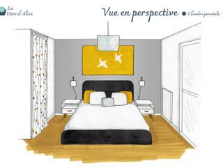 Chambre parentale grise et jaune par La Déco d'Alice