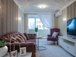 Саввинский переулок Гостиные в эклектичном стиле от DEKOHOME Эклектичный