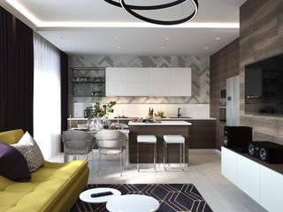 ПРОЕКТ квартиры на Шукшина Гостиная в стиле минимализм от L.E.DESIGNINTERIOR Минимализм