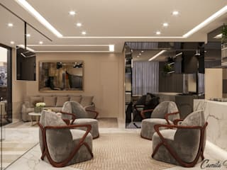 Livings de estilo minimalista de Camila Pimenta | Arquitetura + Interiores Minimalista
