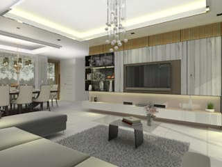 K. Cherry's House - 3D Interior Design Project (The Centro Rattanathibet): ผสมผสาน  โดย Valdus Conception Co., Ltd., ผสมผสาน