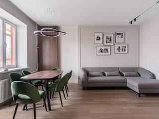 Трехкомнатная квартира 114 м² для семьи с ребенком Гостиная в скандинавском стиле от Бюро интерьеров ICON Скандинавский